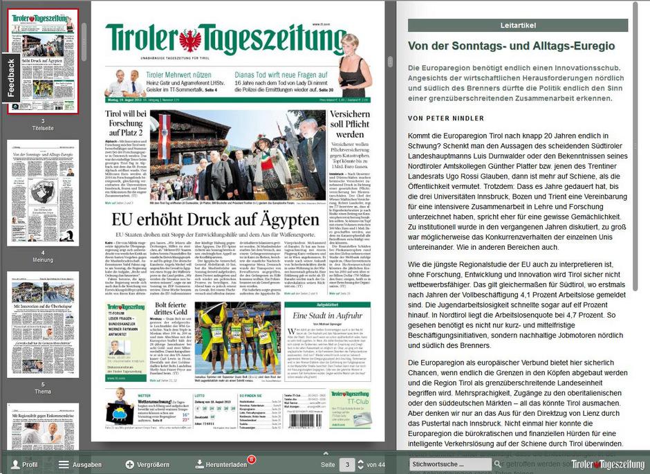 Neue Digitale Tt Ab Sofort Online Tiroler Tageszeitung Online