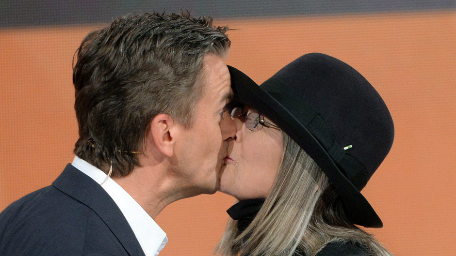 Markus Lanz küsste die US-Filmschauspielerin Diane Keaton.