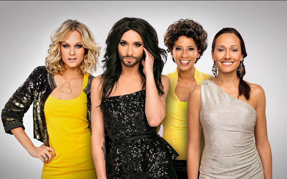 Von rechts nach links: Miriam Weichselbraun, Conchita Wurst, Arabella Kiesbauer, Alice Tumler.