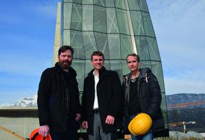 Vor dem Spielturm: Patrick Lüth (Snøhetta), Stefan Isser, Architekt Daniel Süß.