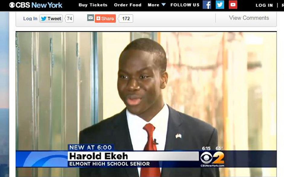 Harold Ekeh wurde an allen acht Ivy-League-Universitäten angenommen. Der 17-Jährige tendiert im Moment zu Yale.