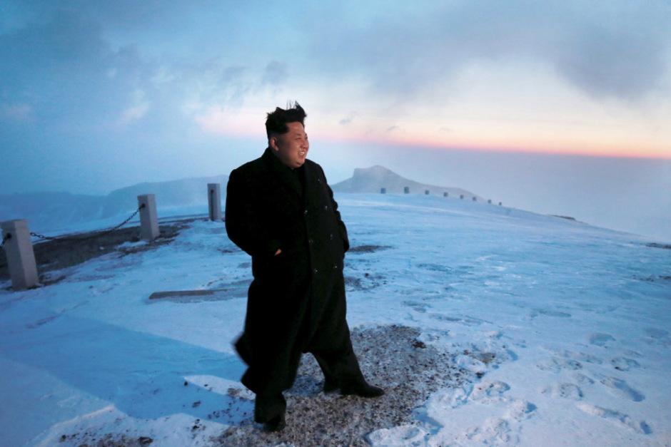 Nordkoreas Staatschef Kim Jong-un auf dem Gipfel des Paektu, dem höchsten Berg der koreanischen Halbinsel.