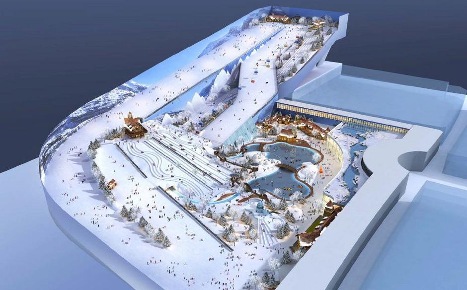 Skipisten, Eislaufplätze, Rodelbahnen: In China entsteht ein riesiger Indoor-Winterspielplatz.<span class=&quot;TT11_Fotohinweis&quot;>Visualisierung</span> <span class=&quot;TT11_Fotohinweis&quot;>: TechnoAlpin</span>