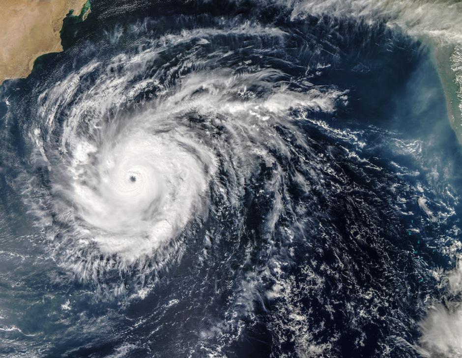 Ein Satellitenfoto zeigt den Wirbelsturm über dem Arabischen Meer.