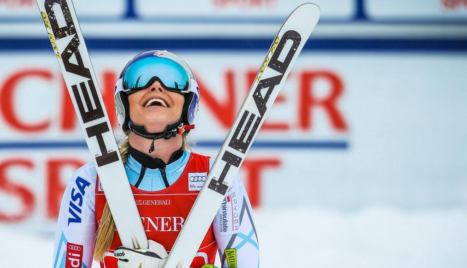 Lindsey Vonn hatte leicht lachen. Die US-Amerikanerin feierte den dritten Sieg innerhalb von drei Tagen.