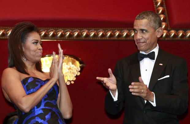 Michelle und Barack Obama hatten Spaß.