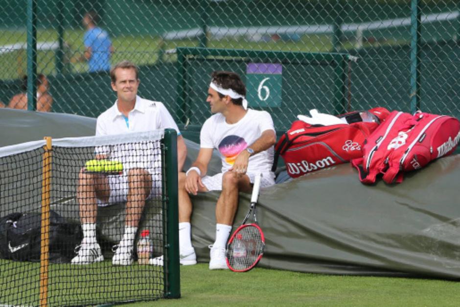 Edberg (l.) und Federer gehen wieder getrennte Wege.