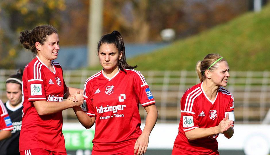 Nina Burger (l.) war mit drei Treffern hauptverantwortlich für den Cup-Halbfinaleinzug des SC Sand.