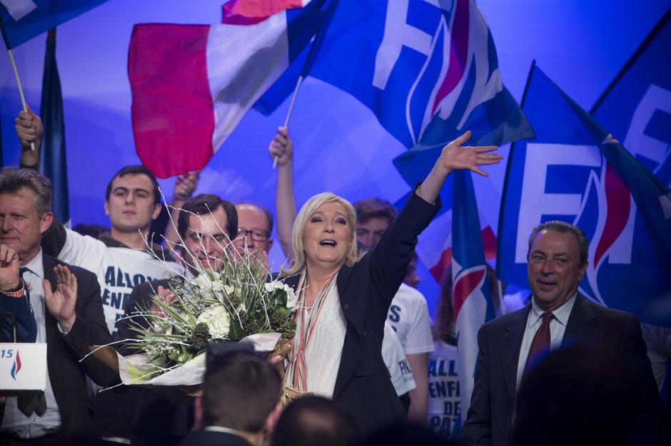 Marine Le Pen, Chefin der Front National, hatte nach dem ersten Wahlgang allen Grund zu Jubeln.