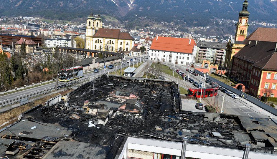 Luftbild vom Brandobjekt am Sonntag.
