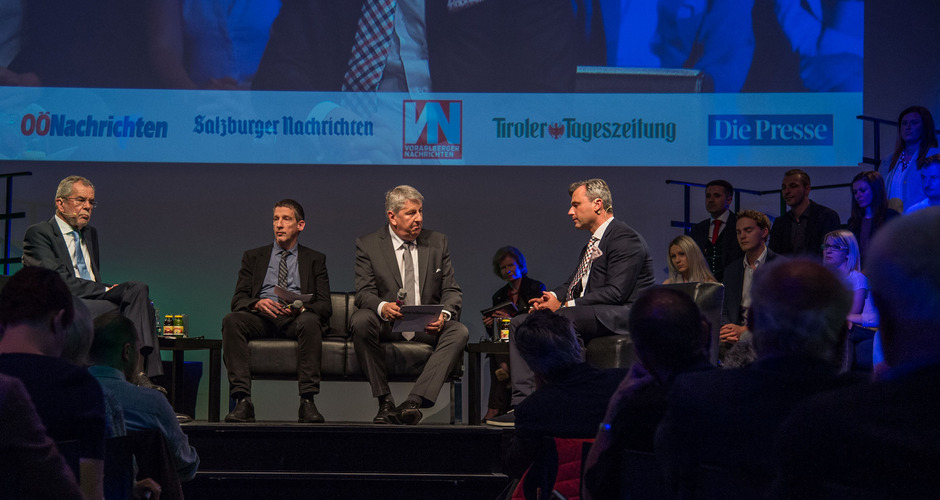 Alexander Van der Bellen und Norbert Hofer mit Wolfgang Böhm (Presse) und Mario Zenhäusern (TT).