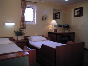 Nur wenige Gästekabinen gibt es an Bord eines Frachters. Die Ausstattung kann sich sehen lassen.