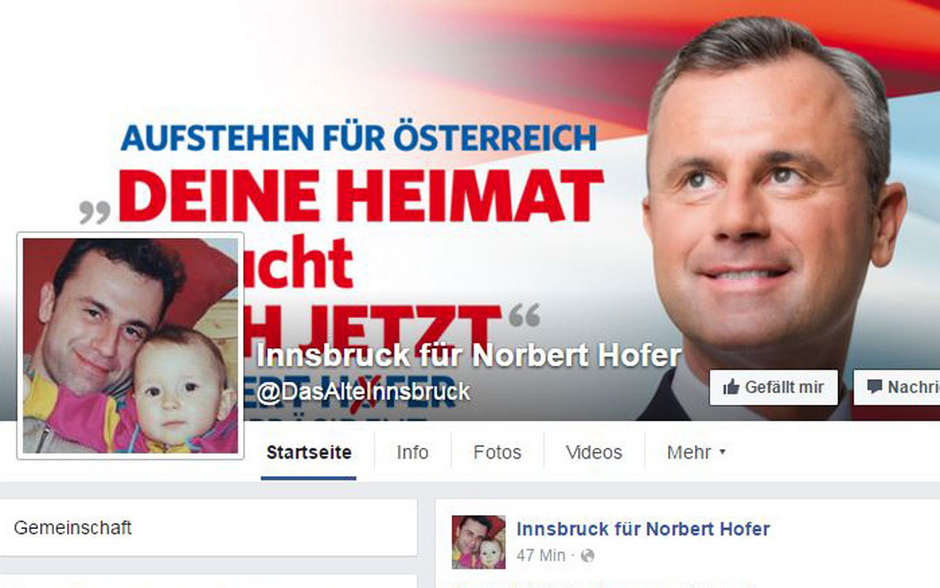 """Nur der Seitenname @DasAlteInnsbruck blieb: Aus """"Das Alte Innsbruck"""" wurde """"Innsbruck für Norbert Hofer""""."""