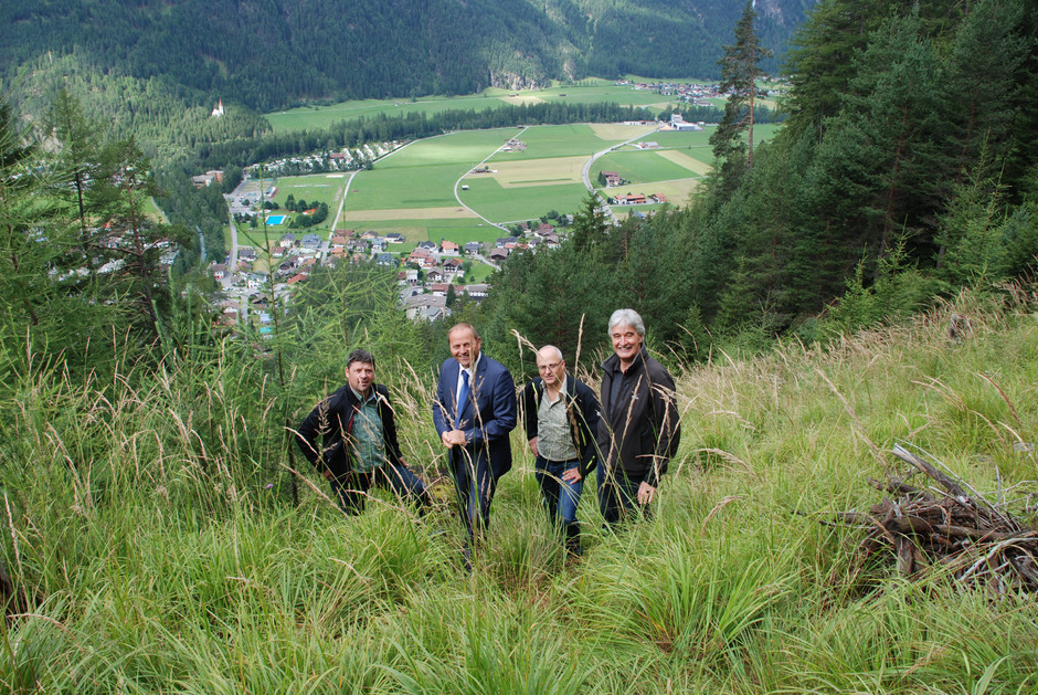 Die steilen Hänge über dem Ötztal müssen mit dem Schutzschild Wald gesichert werden, sind BM Richard Grüner, LHStv. Josef Geisler, Andreas Pohl und Agrar-Obmann Edmund Auer (v.l.) überzeugt.
