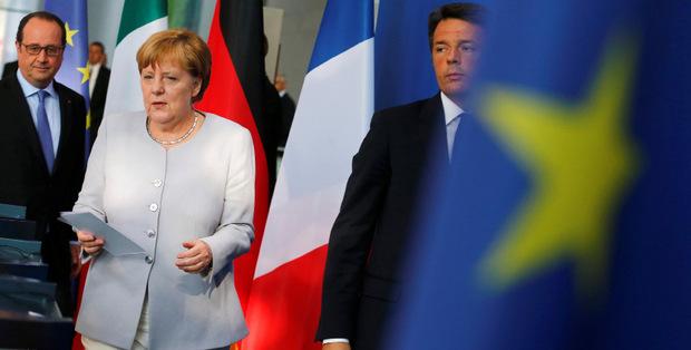 Angela Merkel berät an diesem Montag mit ihren Amtskollegen aus Italien und Frankreich die Lage in Europa.