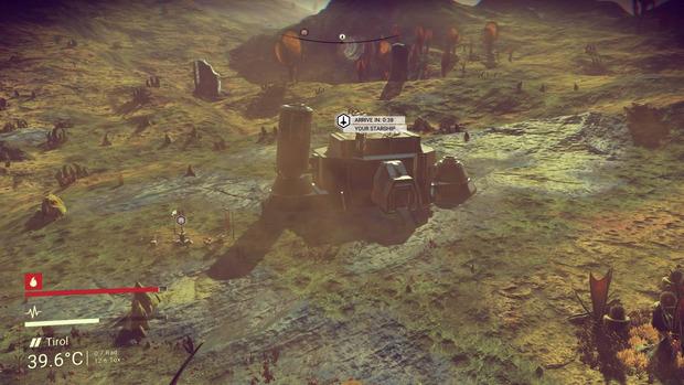 Ein typisches Gebäude auf einem typischen Planeten. Die Weitsicht ist in No Man's Sky sehr schwach (im Bild die PS4-Version), Elemente der Landschaft bauen sich oft erst auf, wenn wir in deren Nähe sind.