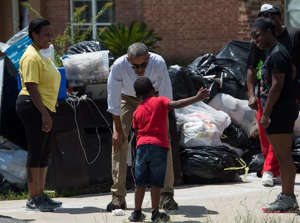 Auch US-Präsident Barack Obama besuchte die Hochwasserregion Louisiana.