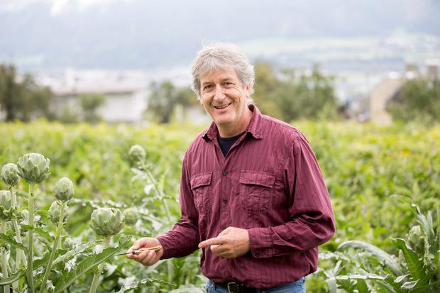 Alfred Unmann, der Gemüse-Experte in der Landwirtschaftskammer, erfreut sich an den hochgewachsenen Rumer Artischocken.