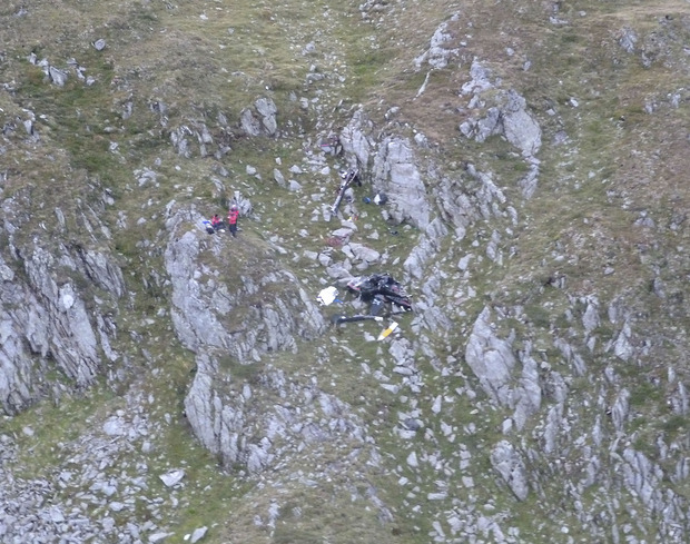 Eine Luftaufnahme der Absturzstelle im Glocknergebiet.