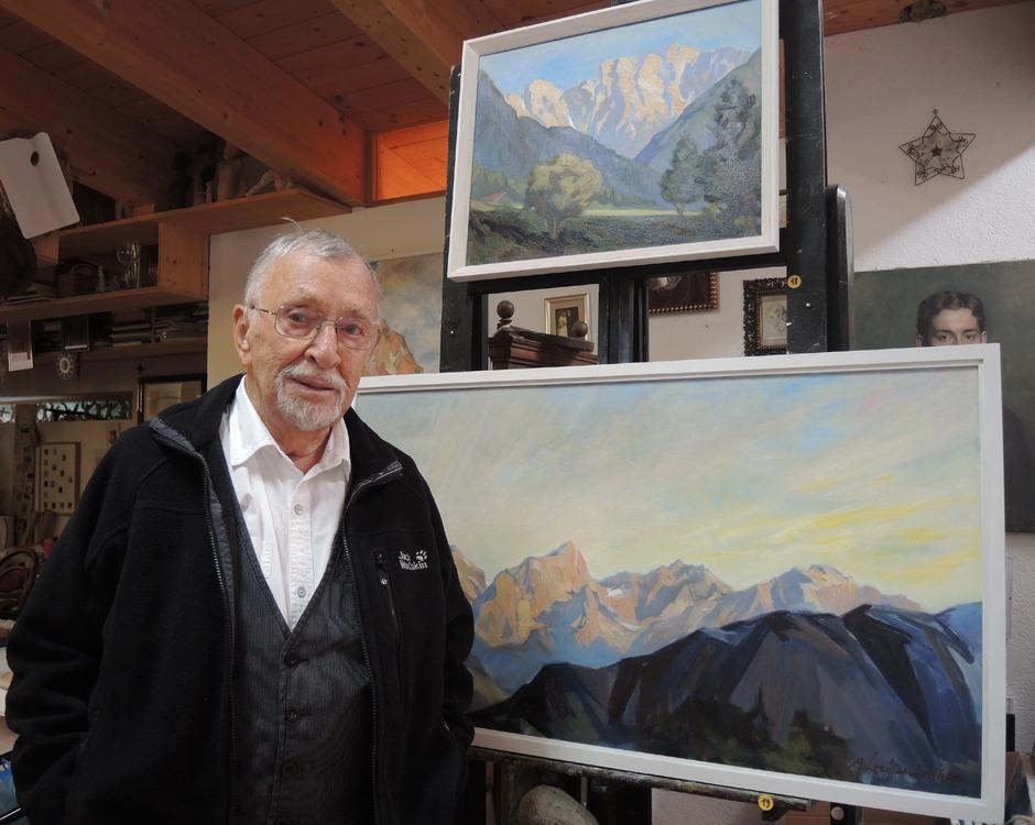 Künstler Andreas Weissenbach ist auch mit 91 Jahren künstlerisch noch höchst aktiv.