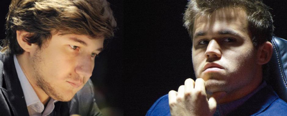 Sergey Karjakin (l.) und Magnus Carlsen.
