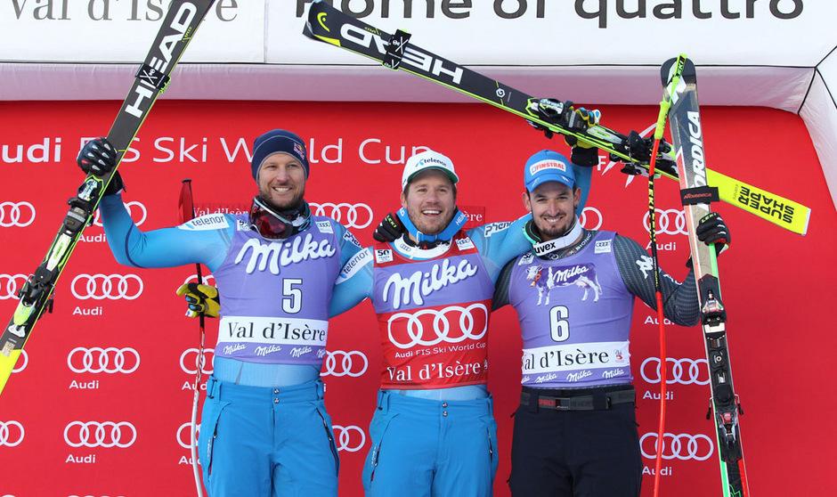 Siegertrio in Val d'Isere: Aksel Lund Svindal und Dominik Paris (r.) nahmen Kjetil Jansrud in die Mitte.