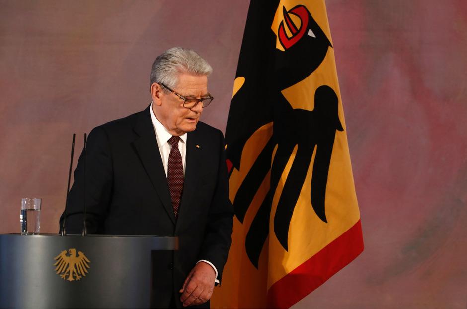Joachim Gauck unmittelbar nach seiner Abschiedsrede am Mittwoch.