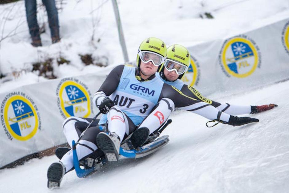 Rupert Brüggler/Tobias Angerer stellten bei den Doppelsitzern die Bestzeit auf.