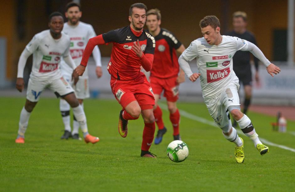 Torschützen unter sich: Lukas Marasek (r.) erzielte die Kufsteiner 2:0-Führung, Marco Oberst den 2:2-Ausgleich.