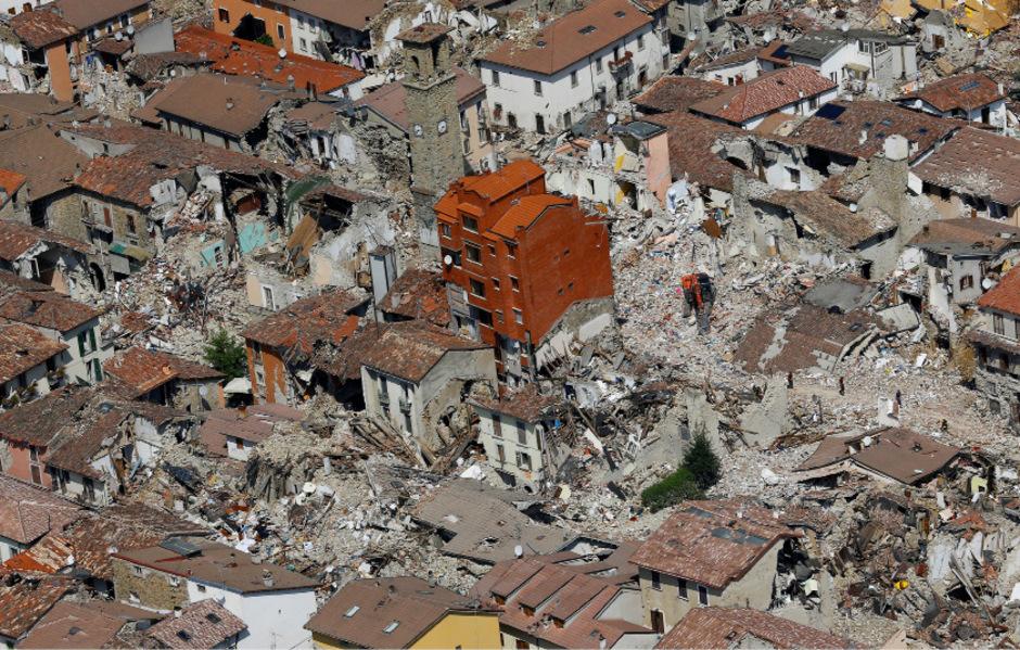 Das Städtchen Amatrice wurde von dem Erdbeben völlig verwüstet.