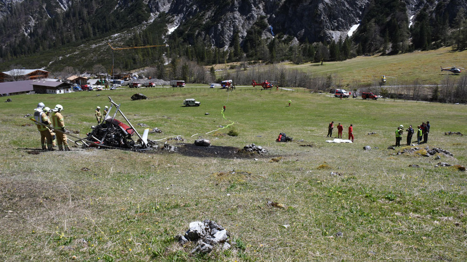 Der Hubschrauber stürzte im Bereich der Gramaialm südwestlich von Pertisau ab.