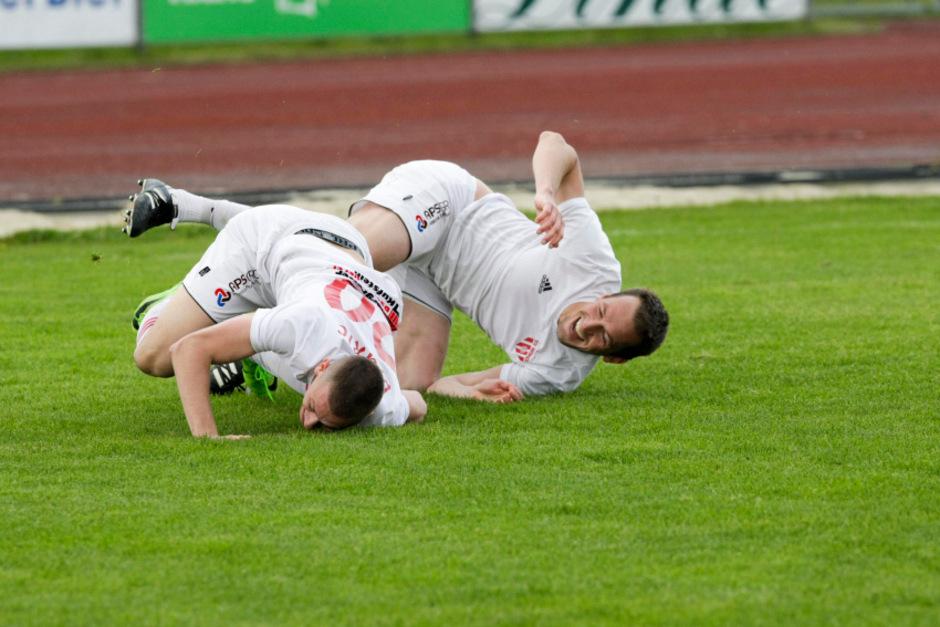 Wörgler Torschützen unter sich: Danjiel Djuric und Peter Kostenzer.
