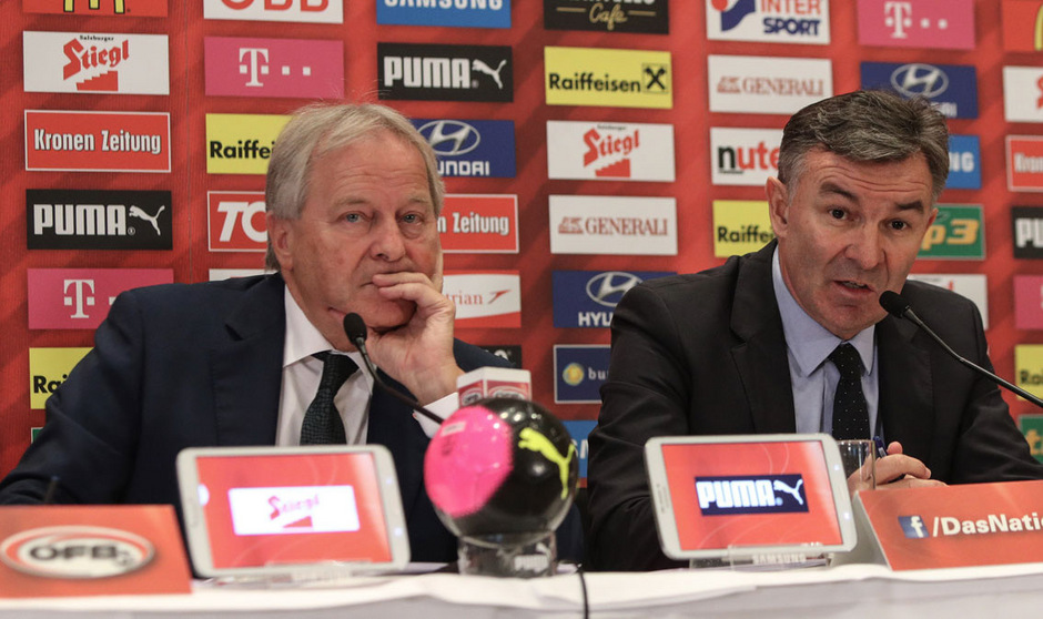 Leo Windtner stellt sich kommende Woche der Wiederwahl. Davor steht für das ÖFB-Oberhaupt und Sportdirektor Willi Ruttensteiner noch das vorentscheidende WM-Quali-Match gegen Irland am Plan.