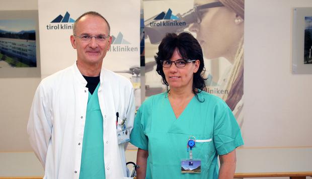 Michael Joannidis, Leiter der Internistischen Intensivmedizin in Innsbruck, mit Regina Oberthaler, Leitende Diplompflegerin der Internistischen Intensivstation.