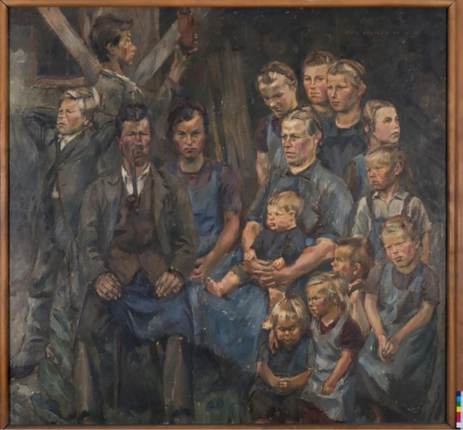 """Vater und Mutter, umgeben von 13 Kindern: """"Die Bauernfamilie"""" von Max Weiler wurde nun reproduziert"""