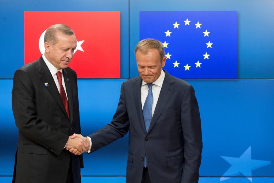Der türkische Präsident Erdogan (l.) und EU-Ratspräsident Tusk beim Treffen in Brüssel Ende Mai.