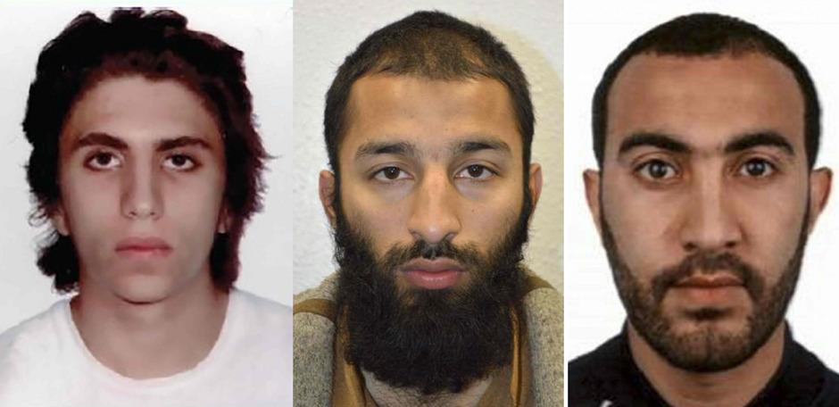 Die britische Polizei hat Fotos der drei Attentäter Youssef Zaghba, Khuram Shazad Butt and Rachid Redouane veröffentlicht.