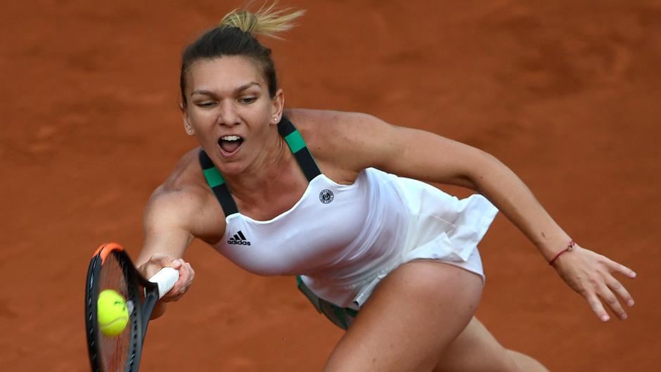 Simona Halep während des Halbfinales gegen die Tschechin Pliskova.