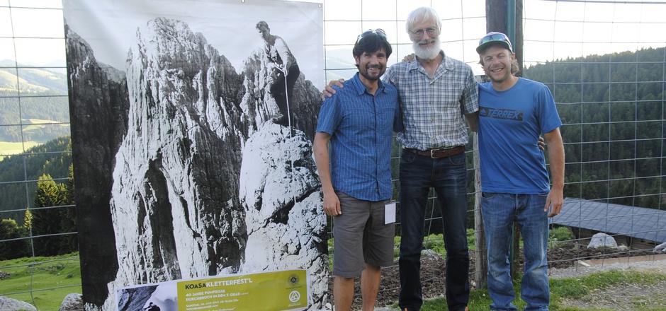 Gemeinsam mit Bergsportfreunden feierten Guido Unterwurzacher, Peter Brandstätter und Tom Rabl (l., v.l.) auf der Wochenbrunner Alm in Ellmau ihre gemeinsame Passion.