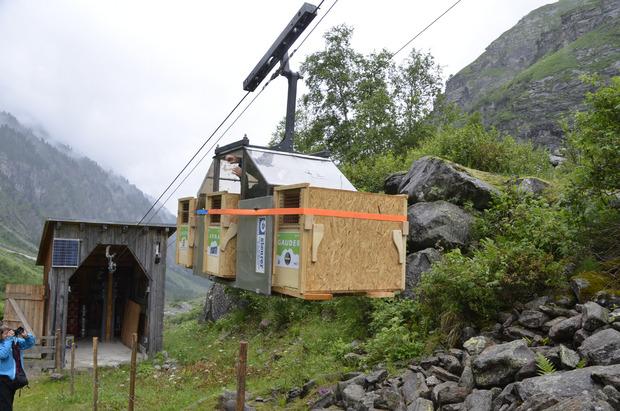 Per Seilbahn wurden die Steinböcke in ihren Transportkisten bis zur Greizer Hütte gebracht.