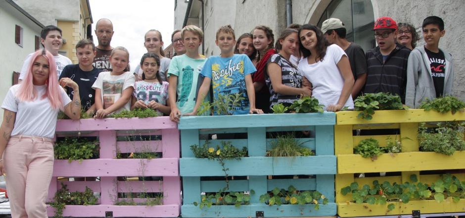 Mit ihren farbenfrohen Hochbeeten beleben die Schülerinnen und Schüler der 2b-Klasse an der NMS Dr.Posch das Haller Schul- und Stadtbild.