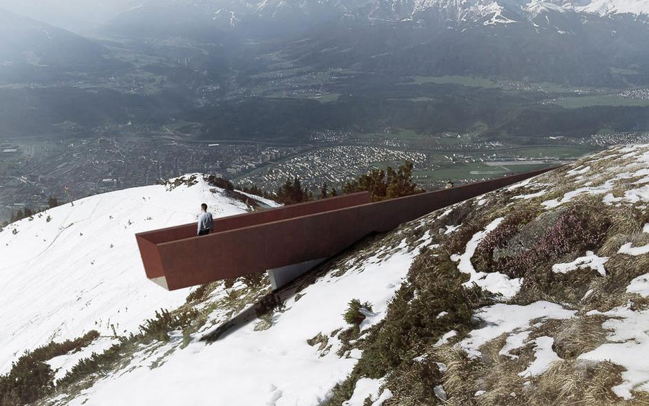 Die zehn Elemente (Bank, Treppe, Lehne, Plattform etc.) von Snøhetta sollen Seegrube-Gästen neue Ein- und Ausblicke gewähren.