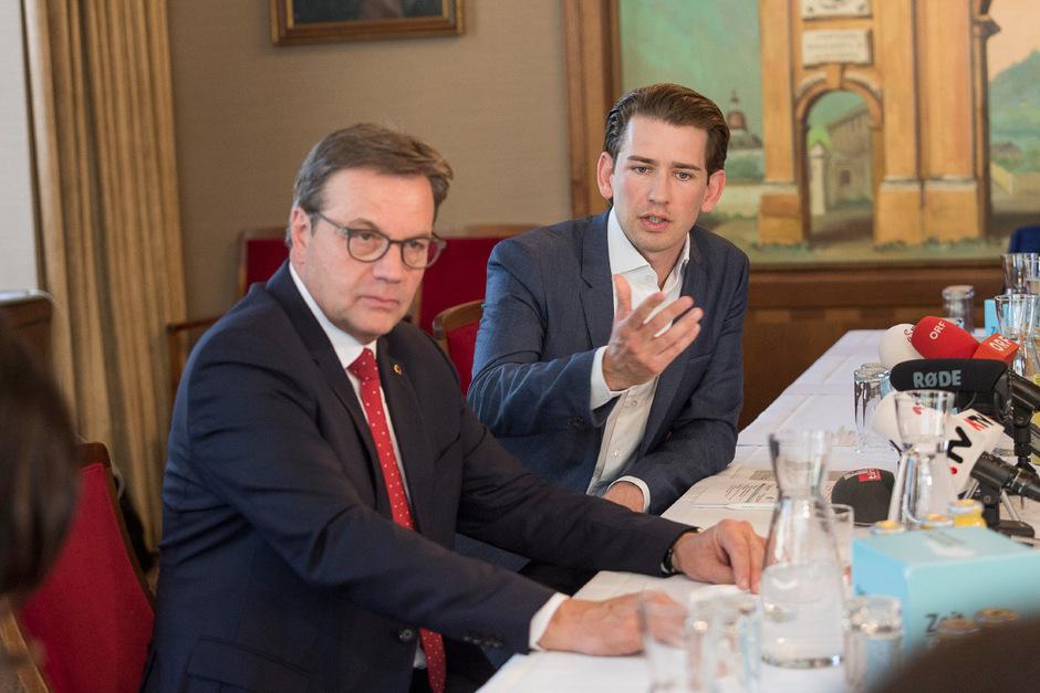 ÖVP-Chef Sebastian Kurz und Landesparteichef Günther Platter (l) setzen auf eine neue Bewegung.
