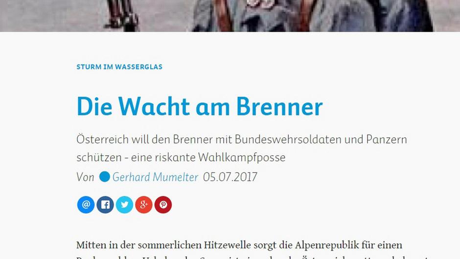 """""""Das peinliche Sommertheater des Trios Doskozil, Kurz und Platter ist ein empörender Akt politischer Verantwortungslosigkeit"""", schreibt das Südtiroler Nachrichtenportal salto.bz."""