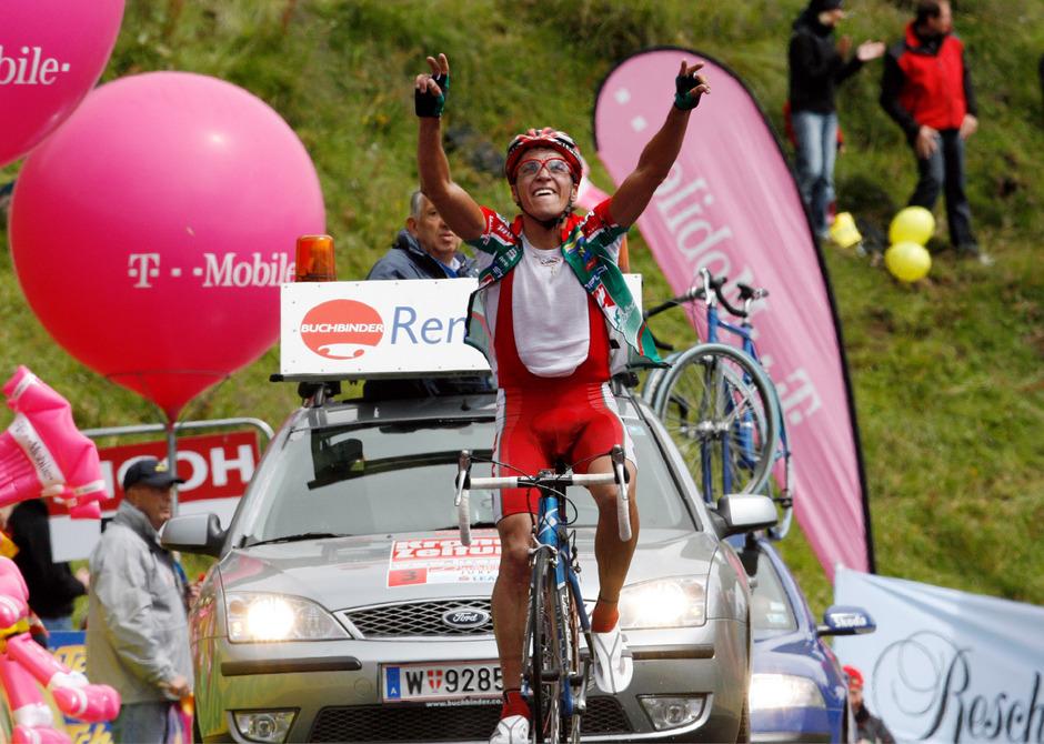 Thomas Rohregger bei seinem Sieg im Jahr 2007. Die Auffahrtszeit aufs Horn (28:24 Minuten) gilt immer noch als Rekord.