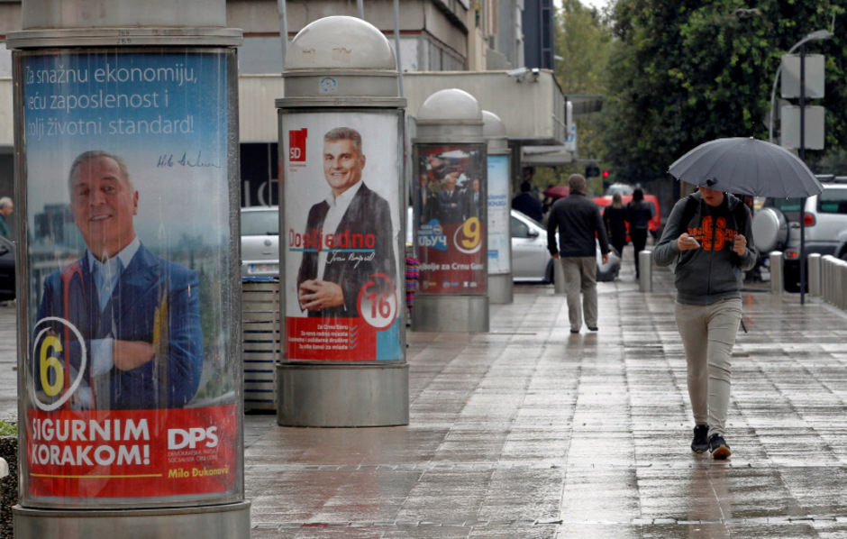 Wahlplakate in Podgorica.