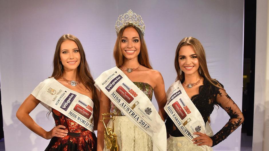 Die Schönsten im Land (v.li.): Sarah Chvala aus Wien (Miss World Austria), Celine Schrenk aus NÖ (Miss Universe Austria), Bianca Kronsteiner aus OÖ (Miss Earth Austria).