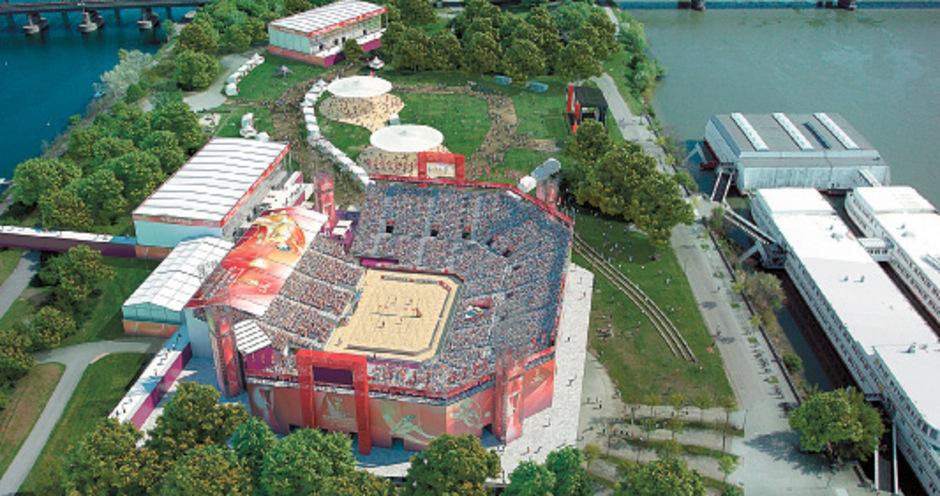 Die Beachvolleyball-WM spielt alle Stückerl auf 65.000 Quadratmetern Veranstaltungsgelände mit der Riesen-Arena für 10.000 Fans.