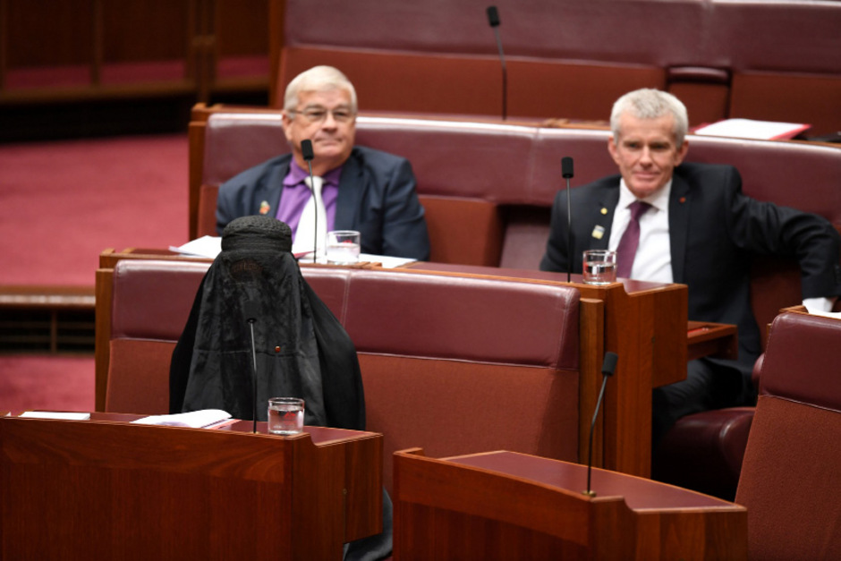 One-Nation-Parteichefin Pauline Hanson kam vollverschleiert ins Parlament. Während ihrer Rede entledigte sie sich der Burka.