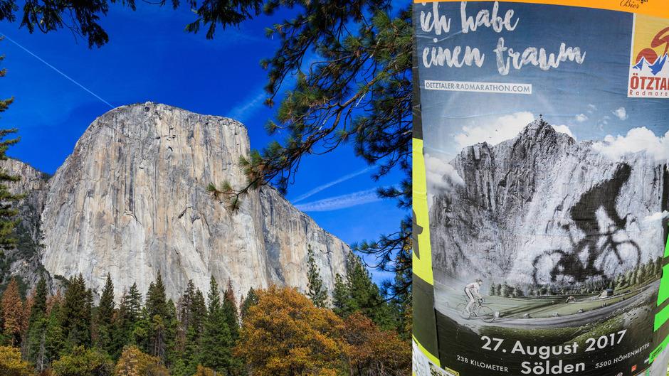 Der El Capitan (li) befindet sich im Yosemite-Nationalpark und rührt die Werbetrommel für den Ötztaler Radmarathon (re).